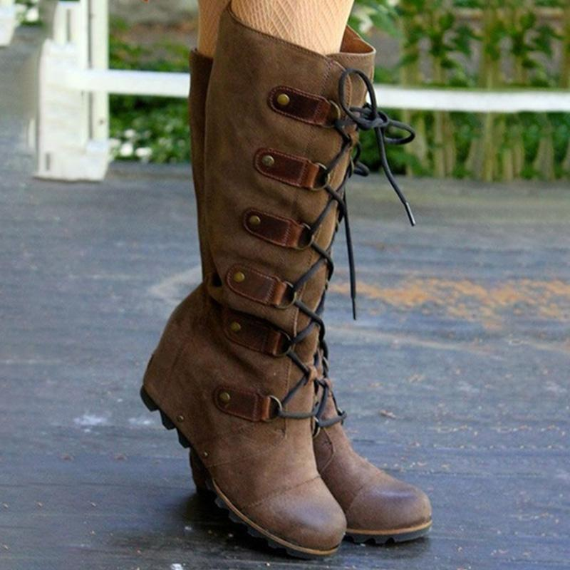 Plain Round Toe Knee High Wedge Heel Boots