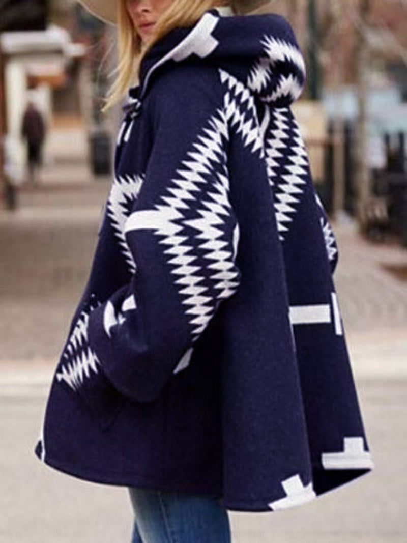 Geometric Pattern Loose Wool Coat