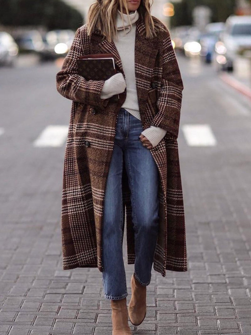 Brown Long Loose Plaid Wool Coat