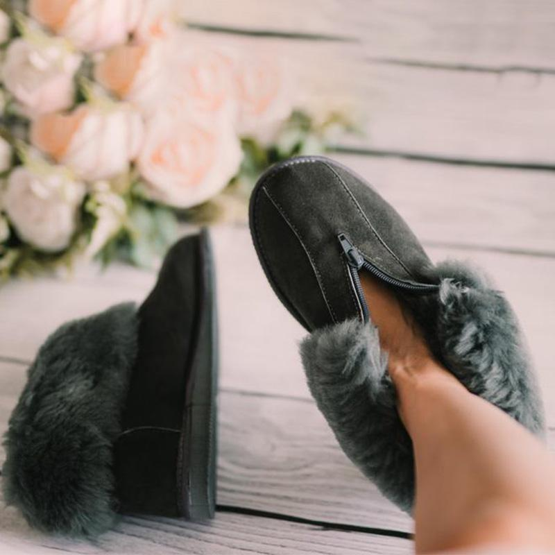 Comfortable Thick Fluffy Suede Flat Ankle Boots