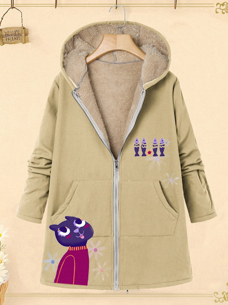 Cartoon Print Plus Velour Lining Hooded Zipper Loose Coat