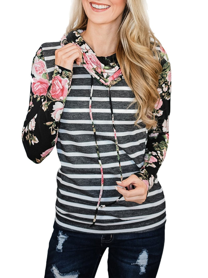 Loose Long Sleeved  Stripes Floral Print T-shirt