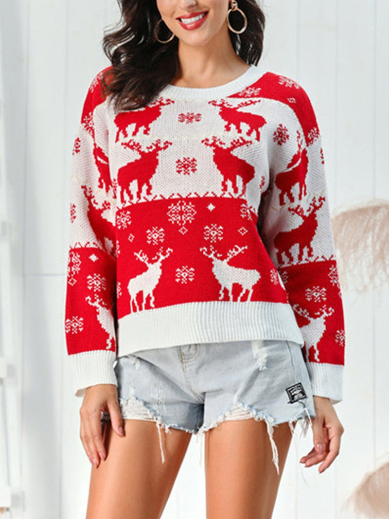 Christmas Elk Snowflake Round Neck Sweater
