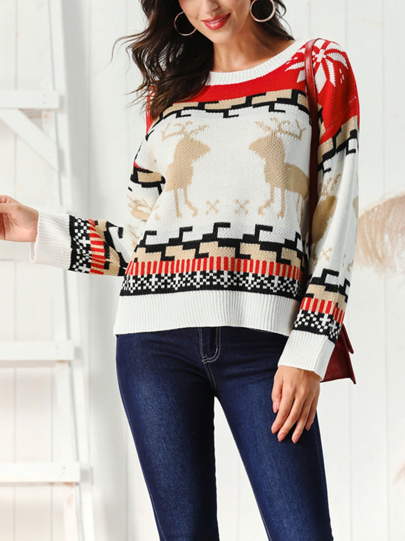 Christmas Elk Pattern Crew Neck Sweater
