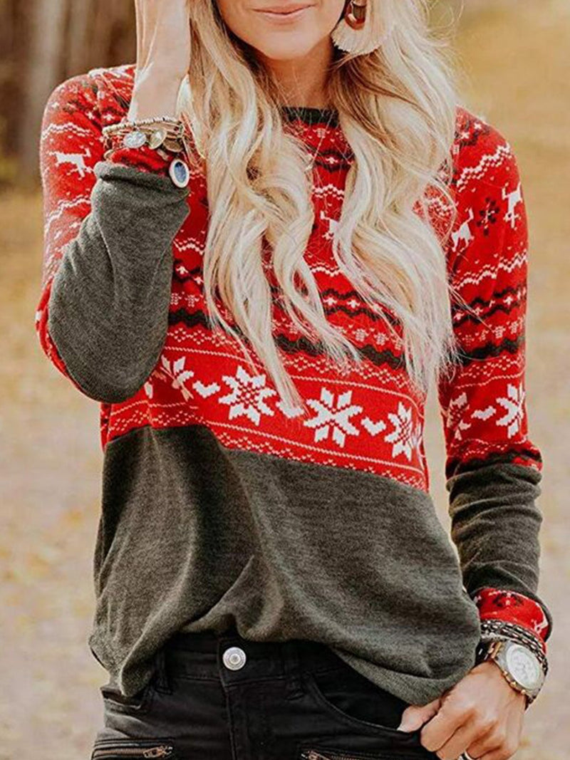 Casual Elk Print Long Sleeve Top