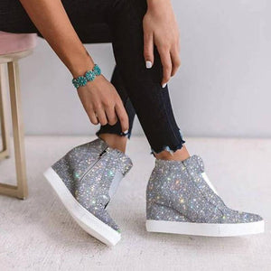 Sparkling Side Zipper Wedge Sneakers