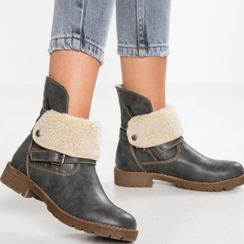 Belt Buckle Zipper Low Heel Ankle Boots