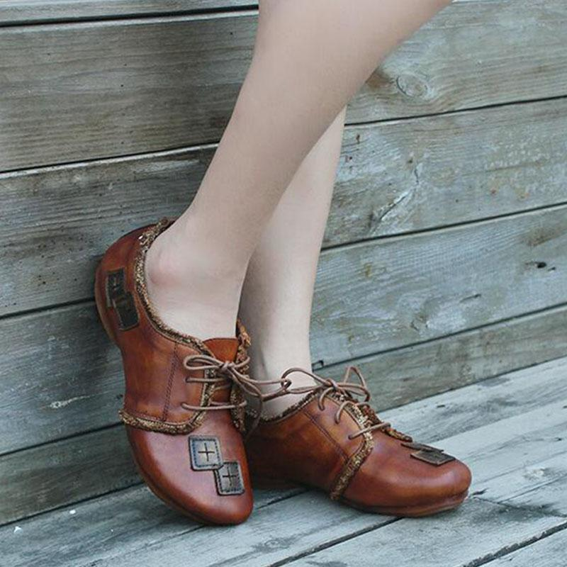 Vintage Lace-up Brown Leather Flats