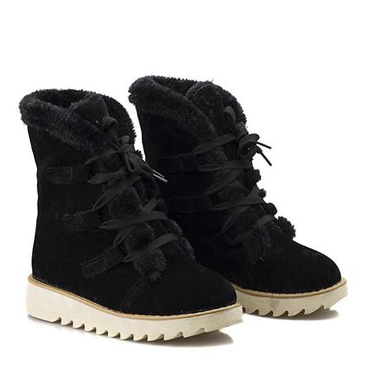 Round Toe Laced Snow Boots
