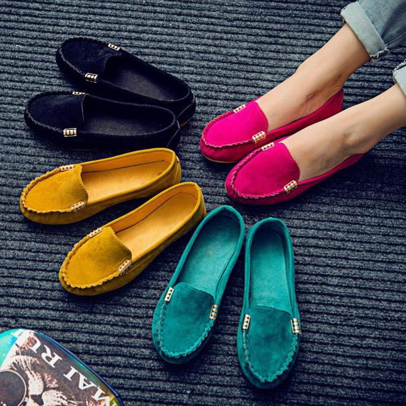 Women Casual Artificial Leather Canvas Flocking Flat Loafers