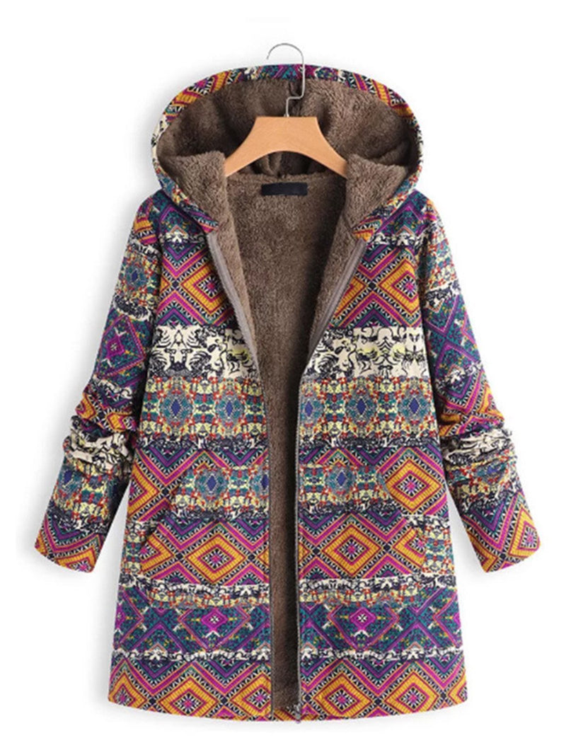 Plus Size Vintage Print Zipper Hooded Long Coat