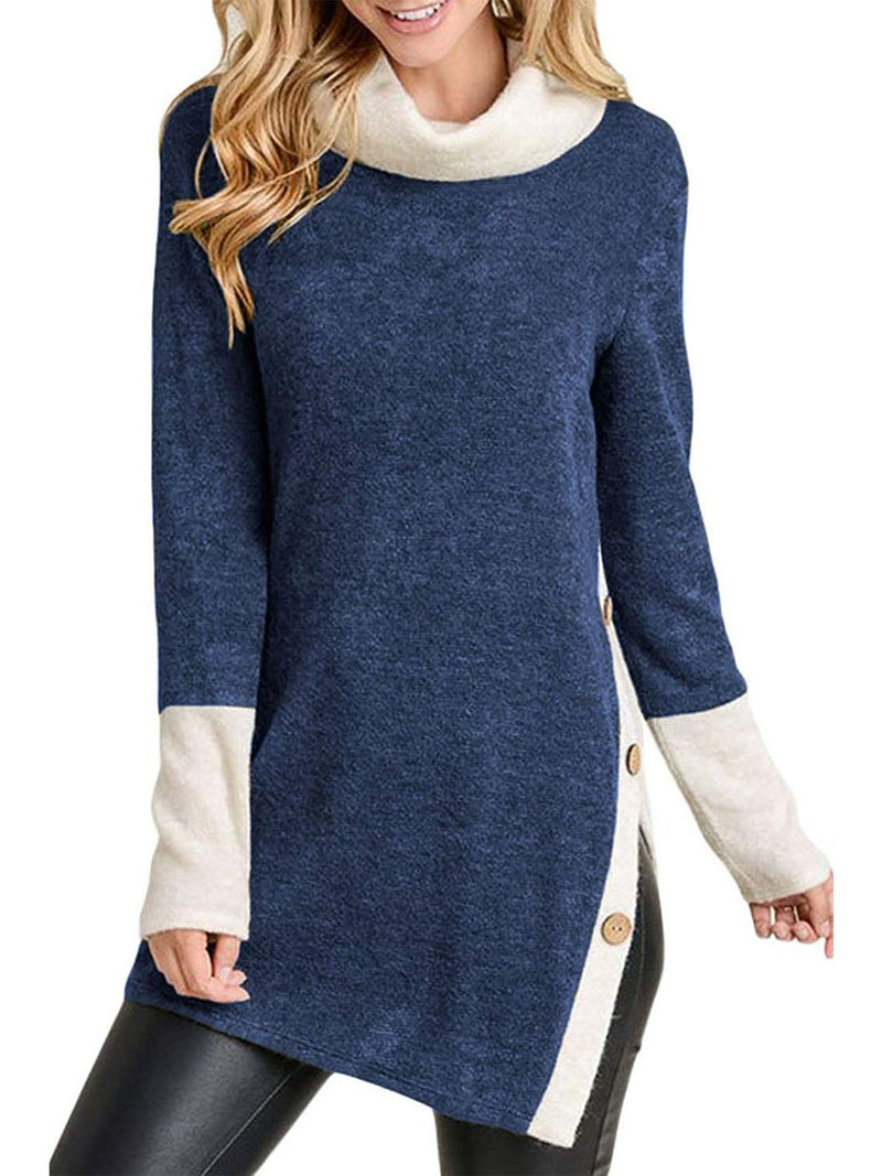 Turtleneck Loose Stitching Top