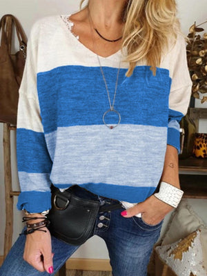 Casual Long Sleeve V-Neck T-shirt