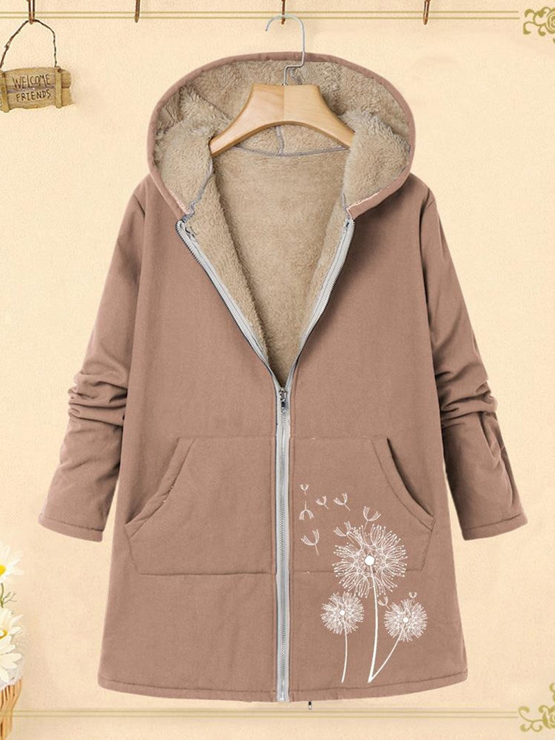 Dandelion Print Zipper With Pocket Plus Velour Loose Plus Size Coat