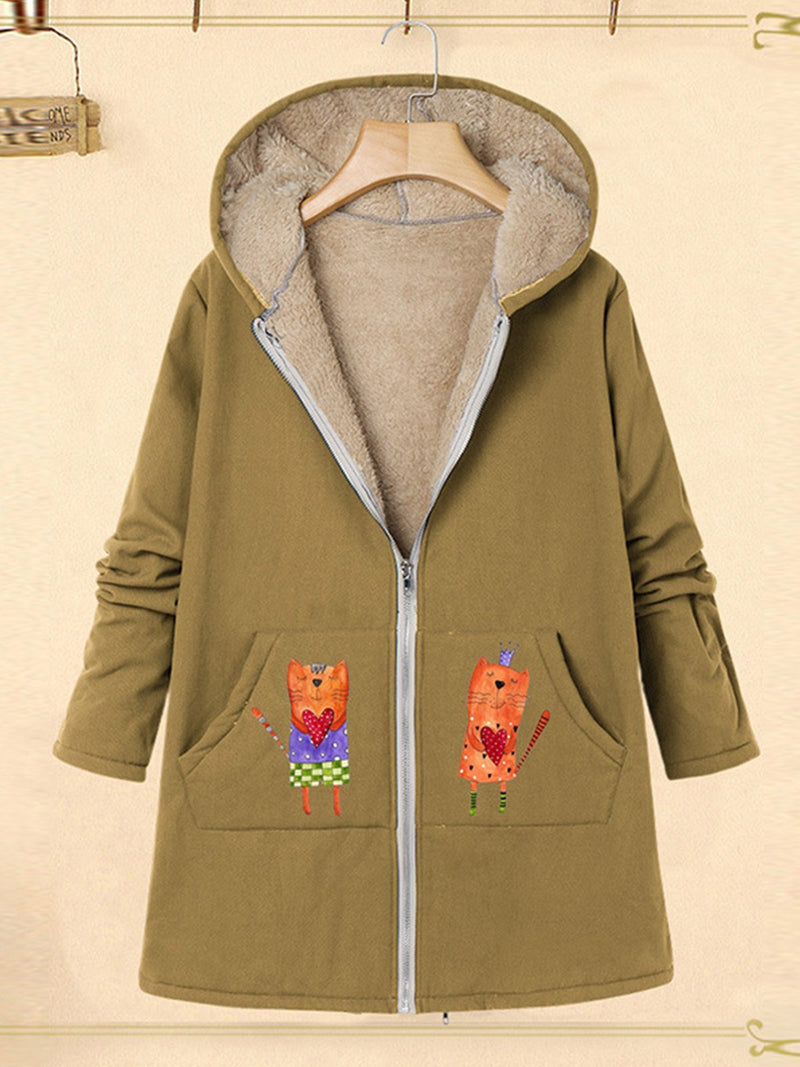 Fox Print Hooded Plus Velour With Pocket Long Plus Size Coat
