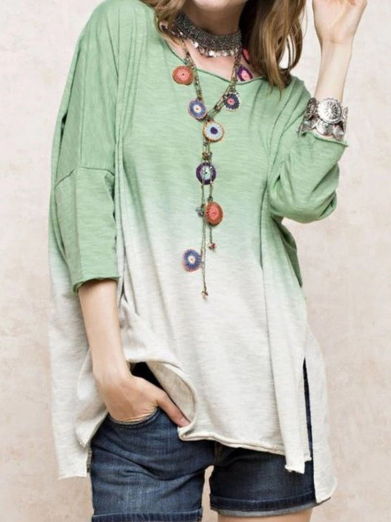 Gradient Top with 1/2 Sleeves