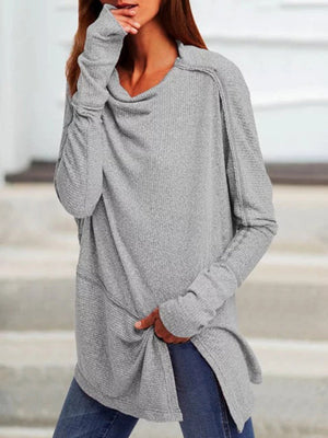 Long-Sleeved Loose Mid-Length Sewing T-Shirt