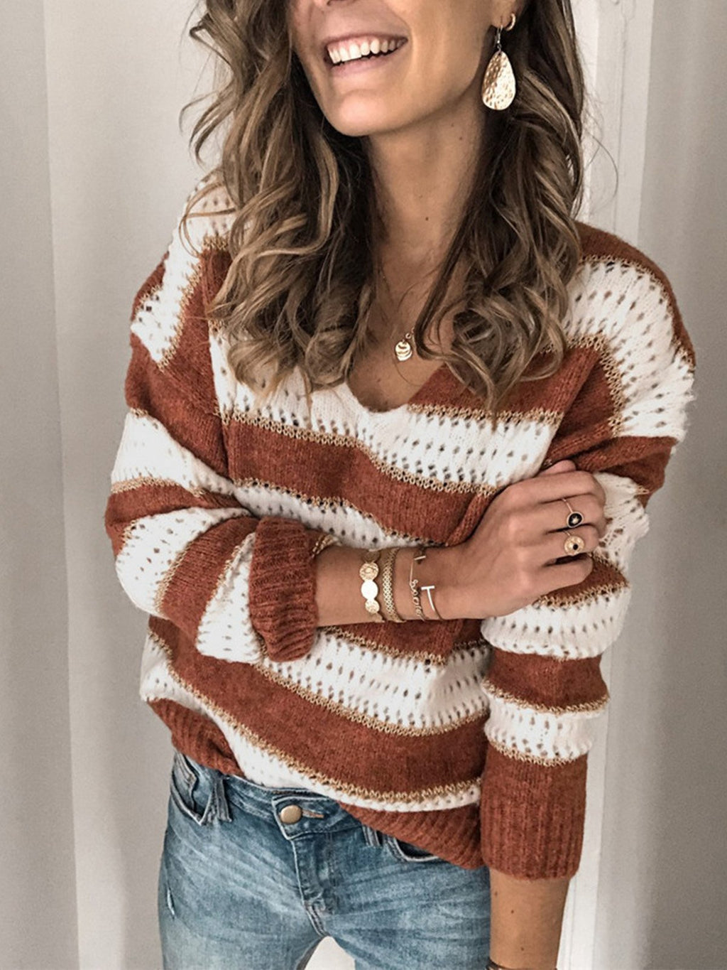 Coffee and White Casual Striped V-neck Sweater