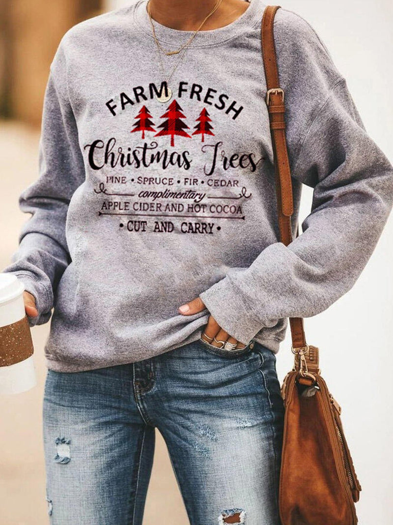 Gray Christmas Trees & Letter Prints Round Neck T-Shirt