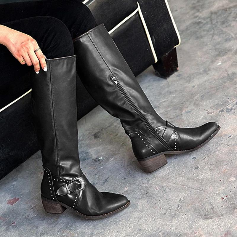Vintage Buckle Zipper Boots