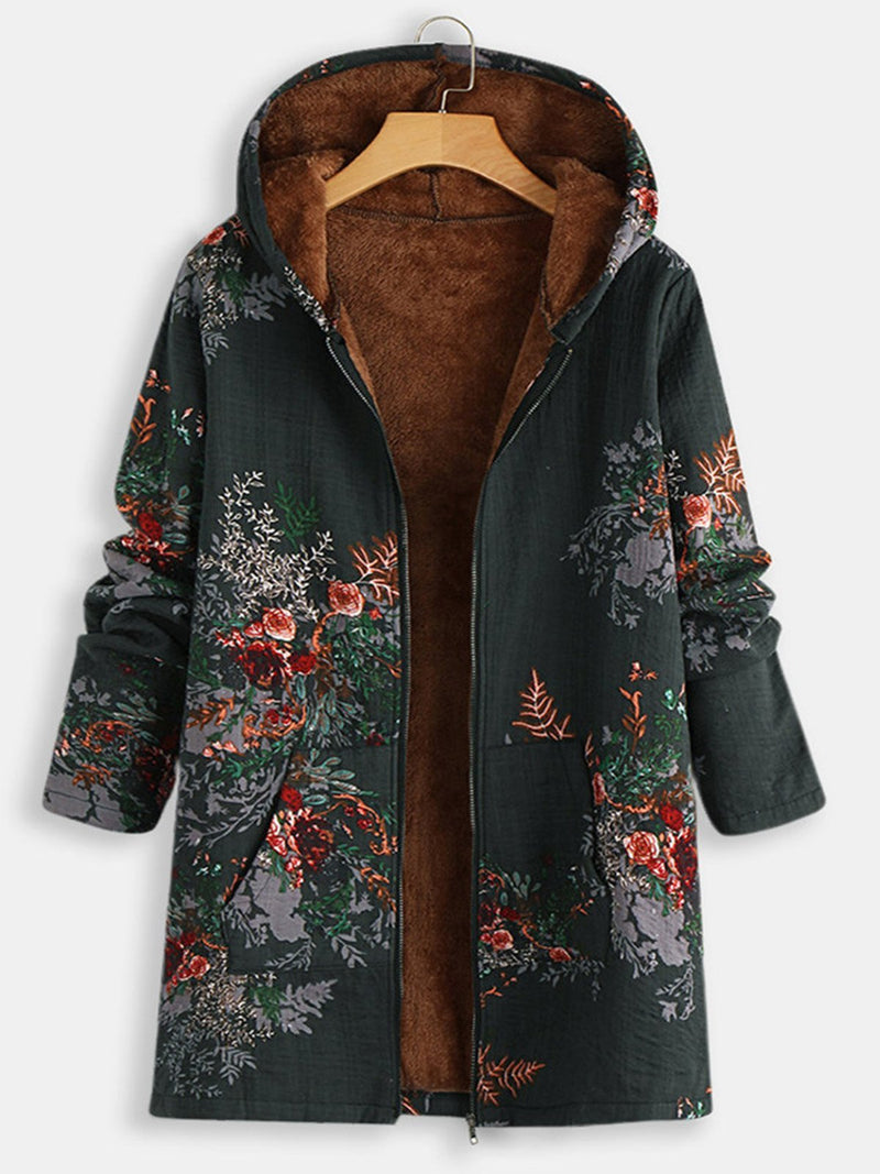 Vintage Floral Print Hooded Plus Velour Lining Long Zipper Coat