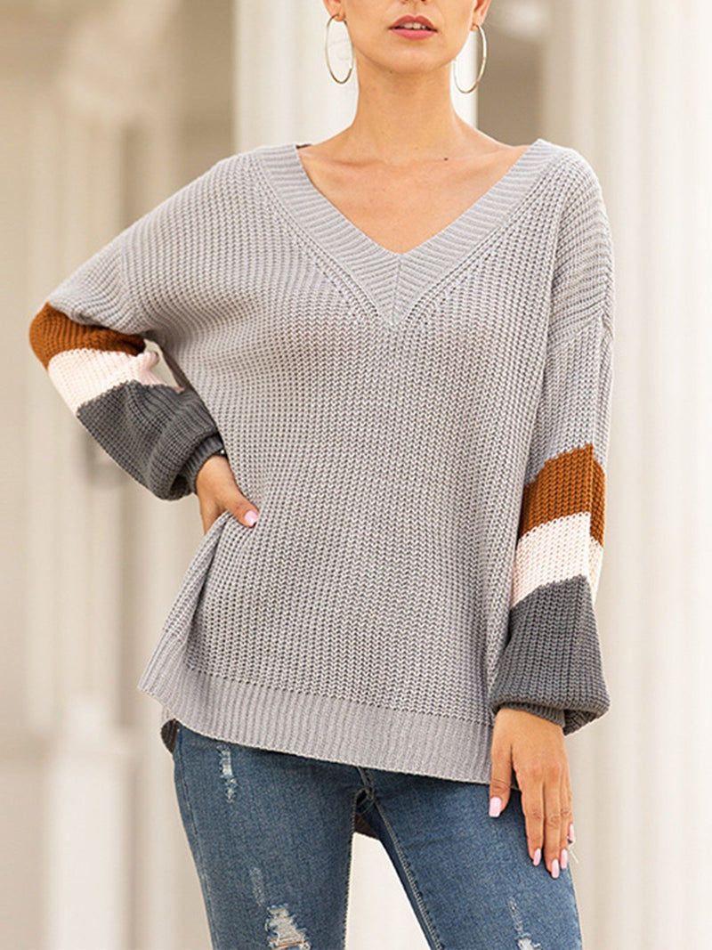 Colored Stripe Bloomer Sleeve V Neck Loose Sweater