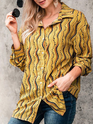 Wavy Printed Long Sleeved Top