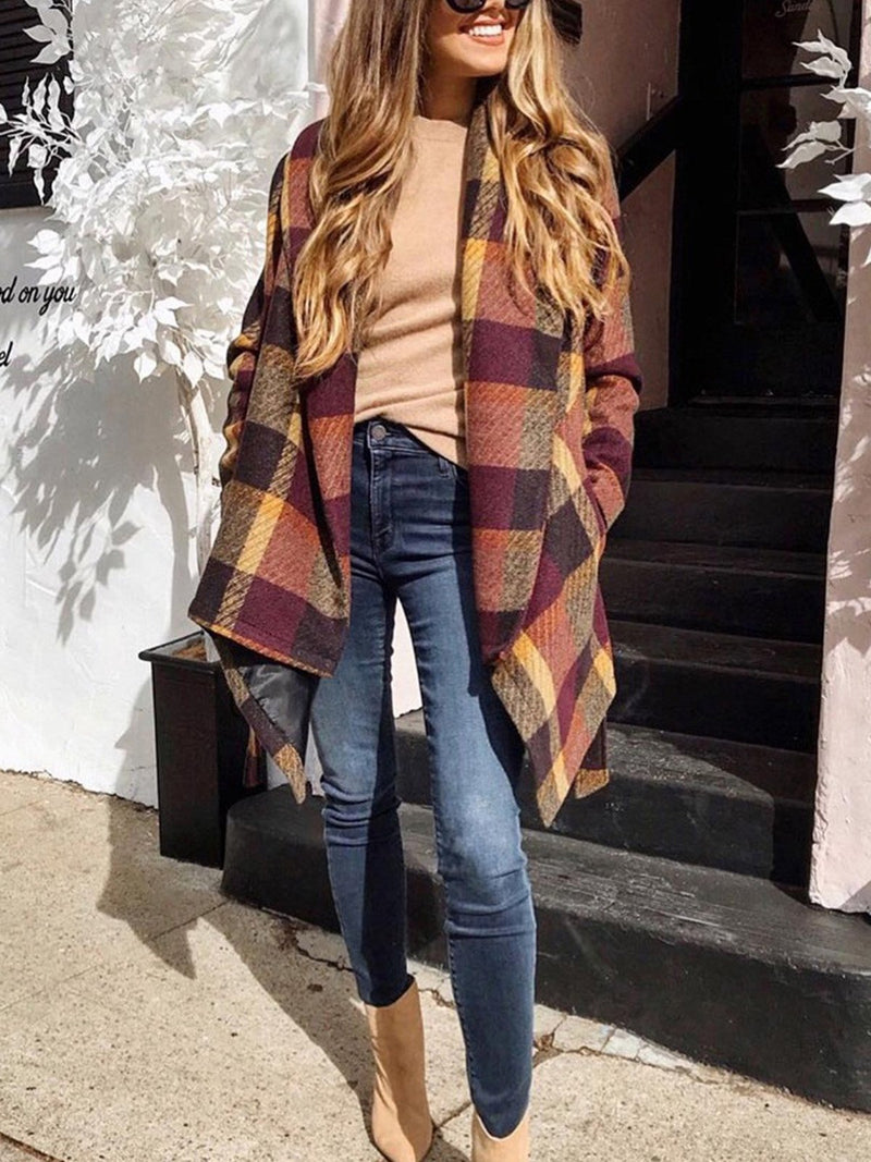 Plaid Shawl Collar Wrapped Women's Coats