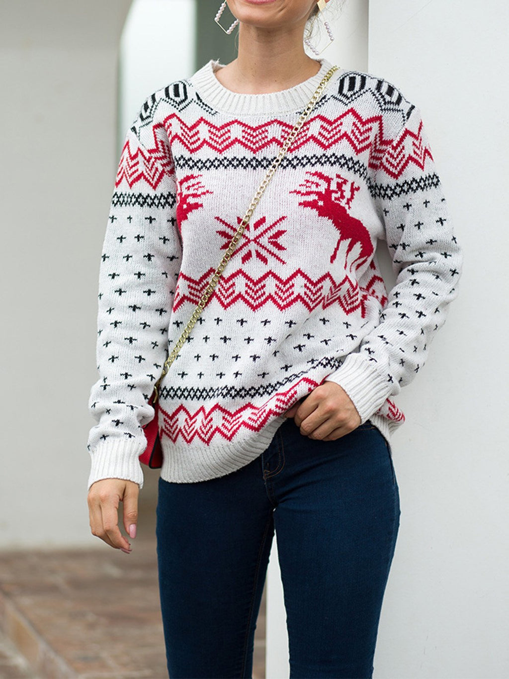 Christmas Style Pattern Round Neck Pullover Sweater