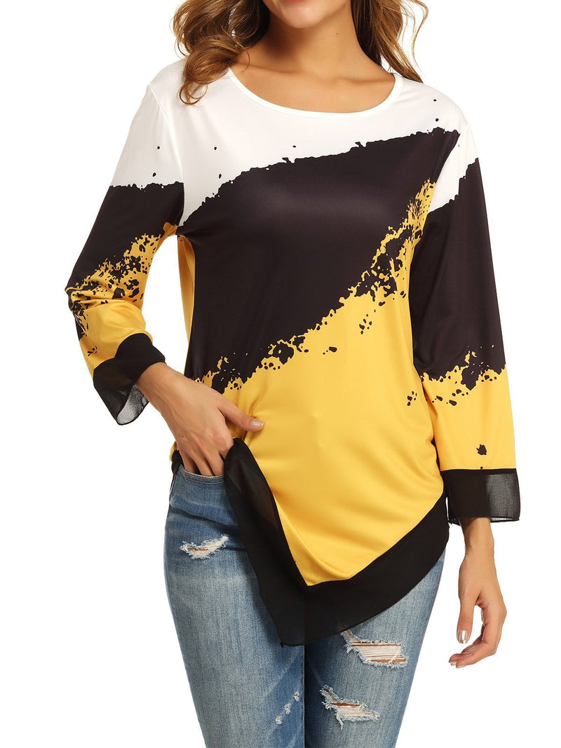 Multi-colored Printed Irregular Top