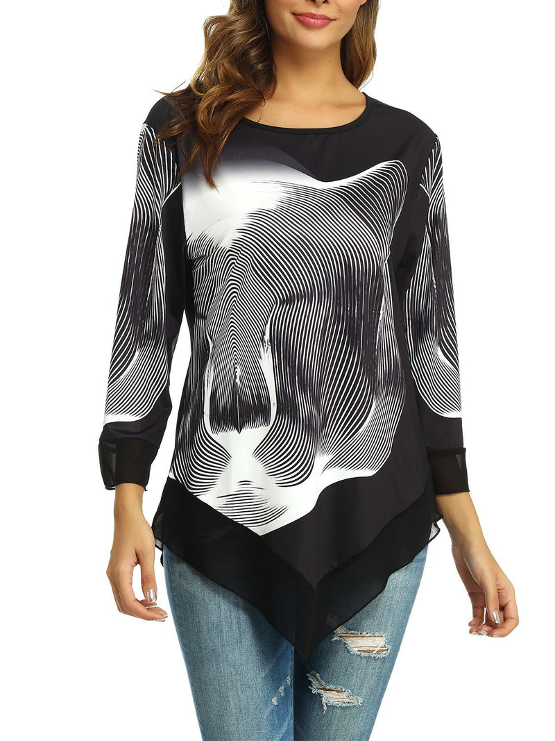 Printed Irregular Top
