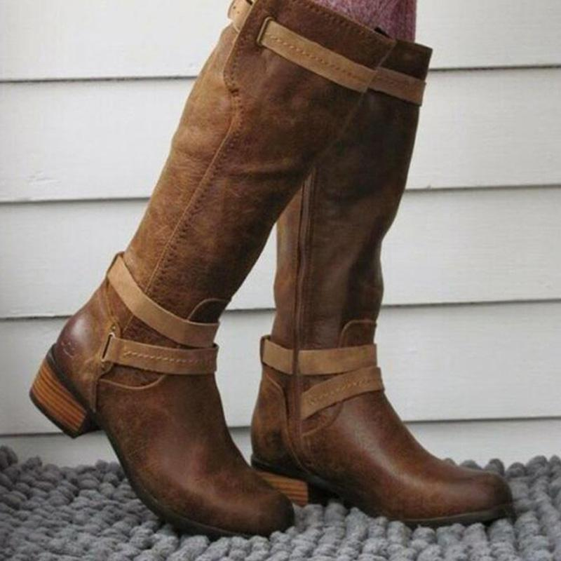 Buckle Chestnut Mid-Heel Knee Boots