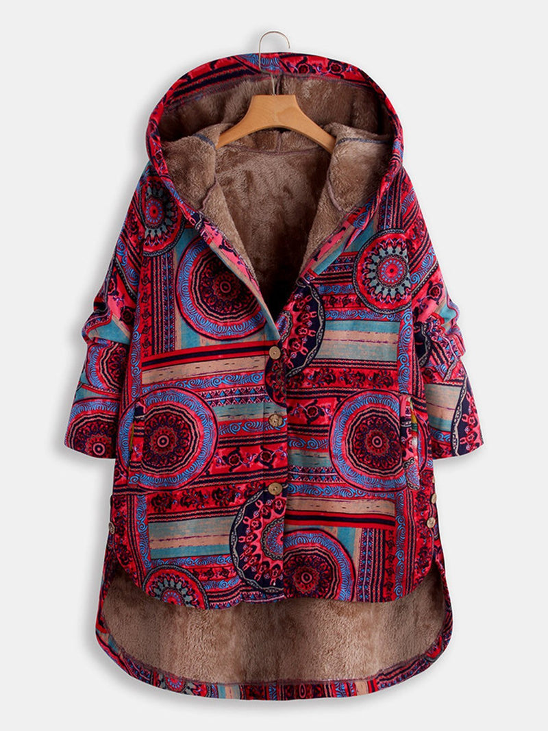 Plus Size Vintage Print Buttoned Plus Velour Lining Hooded Coat