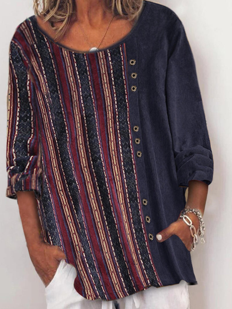 Retro Printed Corduroy Top with Round Neck