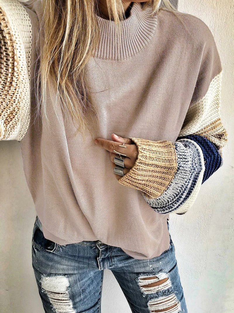 Loose Stitched Crewneck Sweater Long Sleeve