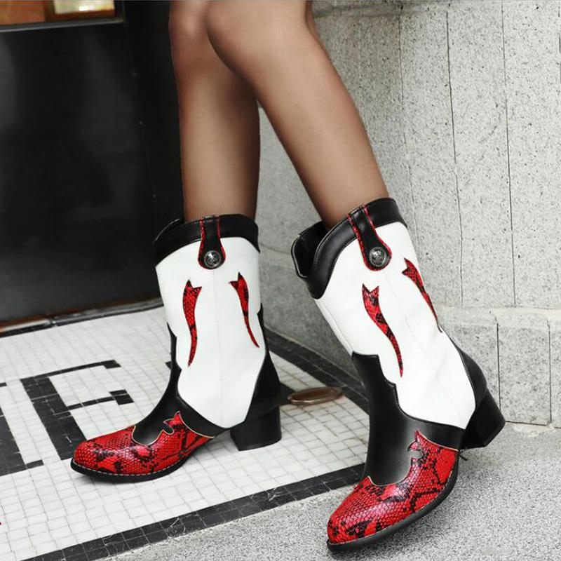 Womens Snake-print Vintage Boots