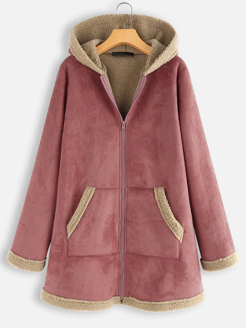 Plus Size Artificial Suede Velour Lining Zipper Hooded Long Coat