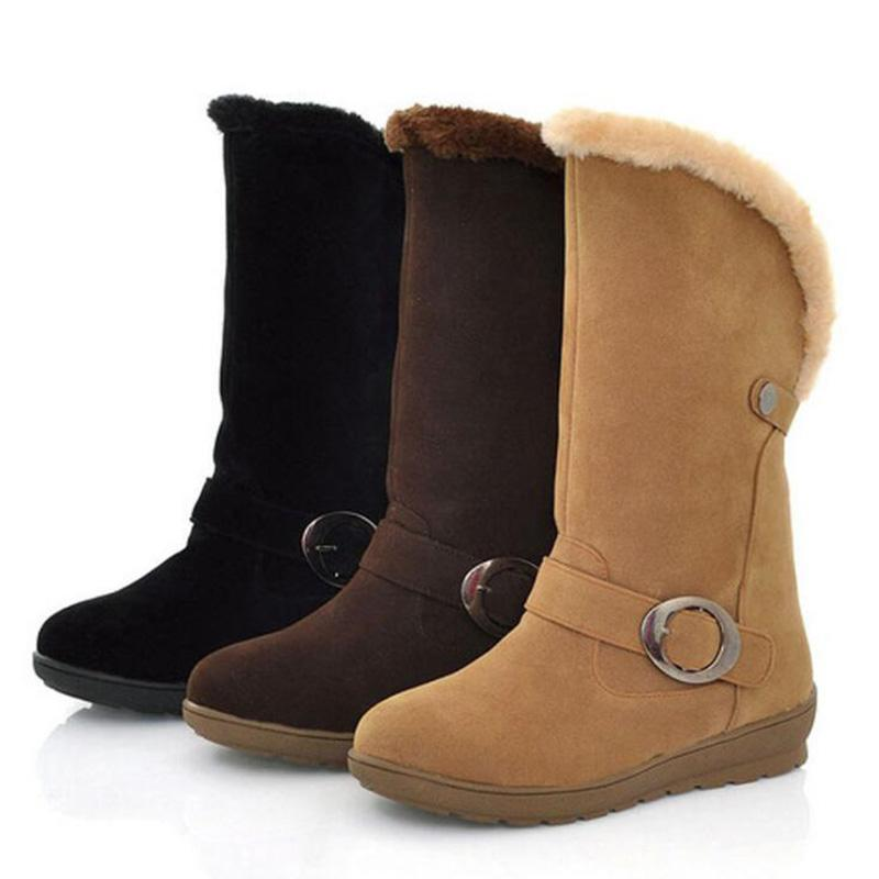 Simple Warm Fluffy Slip-on Flat Snow Boots