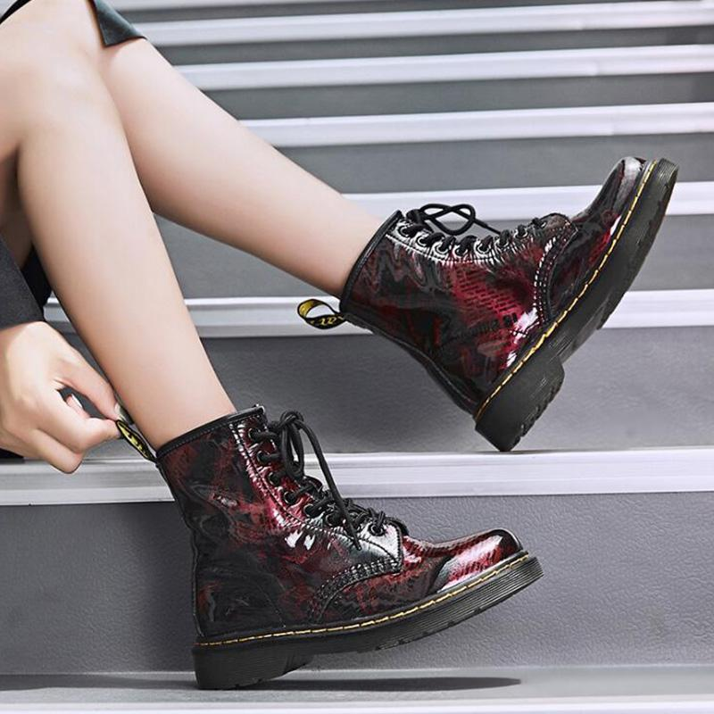 Leather Vintage Printed Lace-up Casual Martin boots