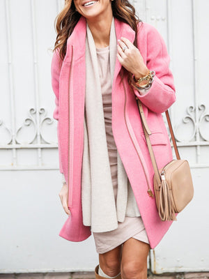 Autumn/Winter Solid Zipper Pocket Long Woolen Coat