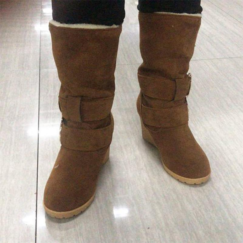 Artificial Suede Buckle Wedge Heel Snow Boots