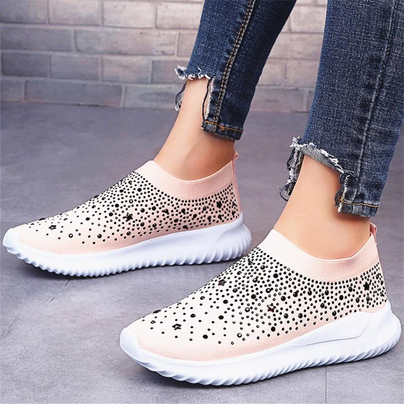 Shiny Well-ventilated Slip-on Sneakers