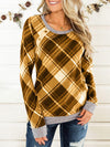Plaid Long Sleeve Crew Neck T-shirt