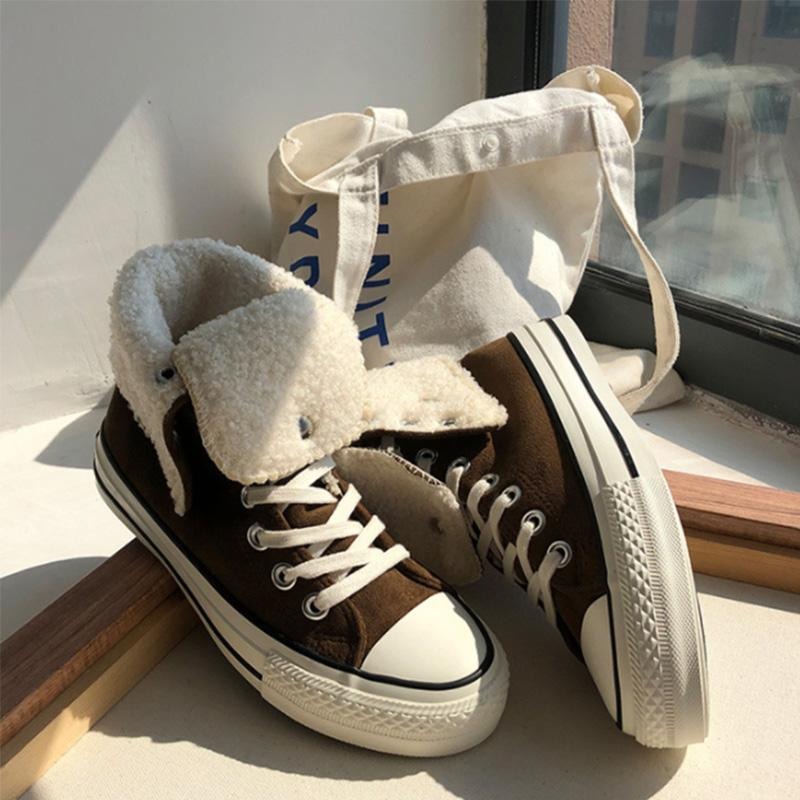 Causal Solid Faux Fur Liner Folding Sneakers