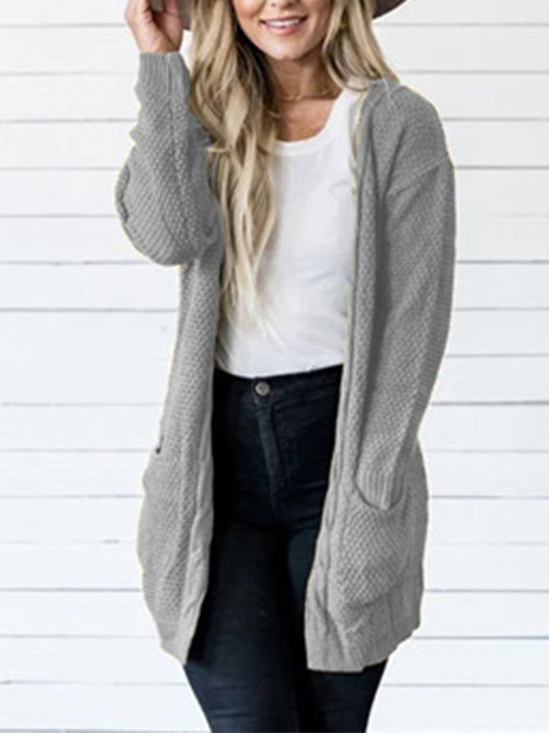 Solid With Pocket Long Sweater Knit Cardigan