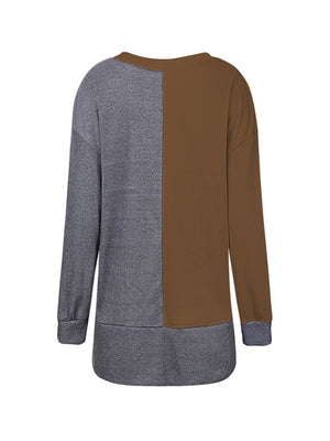 Two-tone Long Sleeve Shirt with Pockets