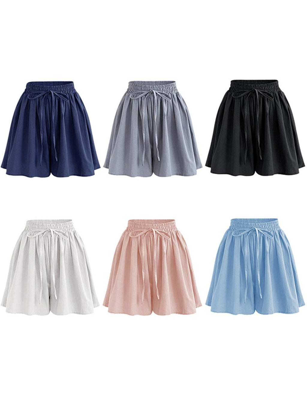 Linen Drawstring High Waist Casual Plus Size Wide-leg Shorts
