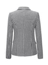 Houndstooth/Solid Double-breasted Blazers
