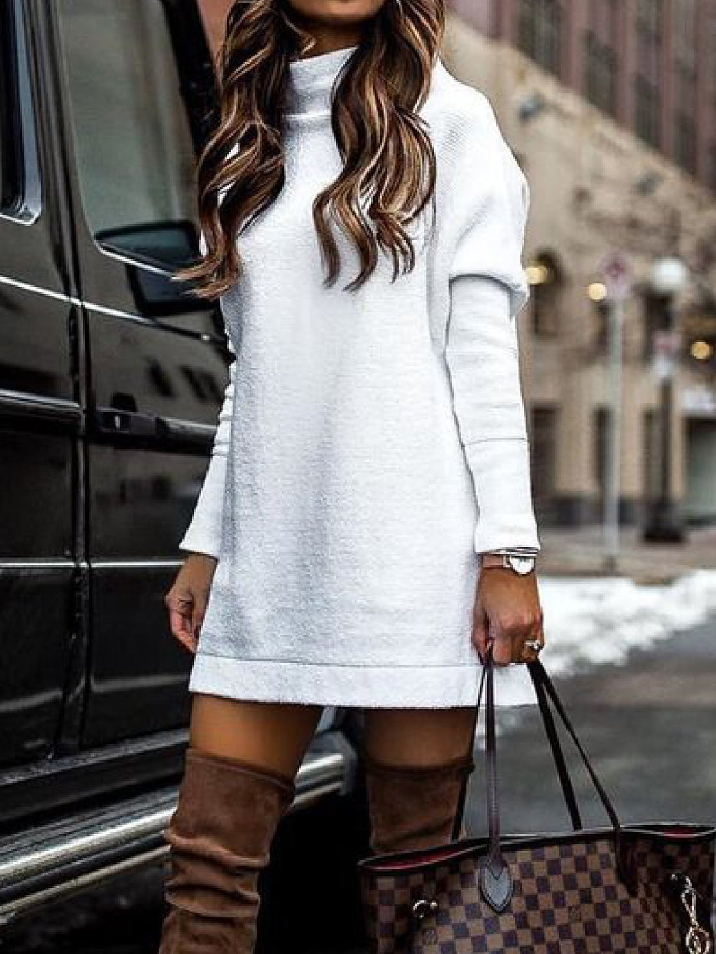 Casual Plus Size Turtleneck Long Sweater Pullover