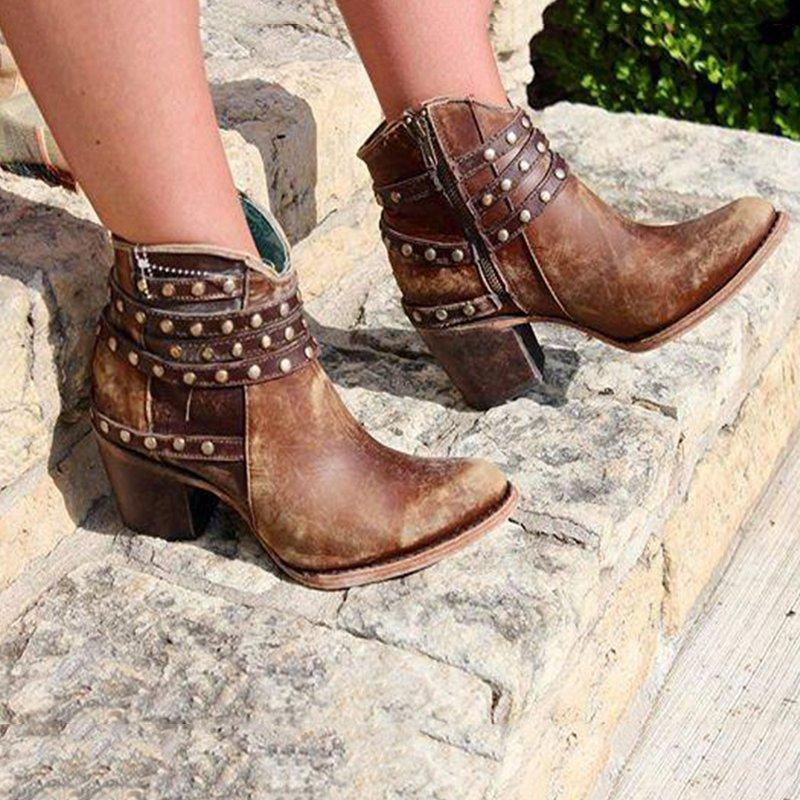 Studded Strap Booties